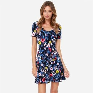 Lush Dresses - Lush Navy Blue Floral Print Dress